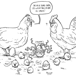 Des poules et un pioulpe mi-piou mi-poulpe faits par Poulop.