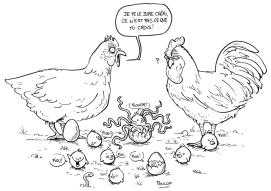 Des poules et un pioulpe mi-piou mi-poulpe faits par Poulop.