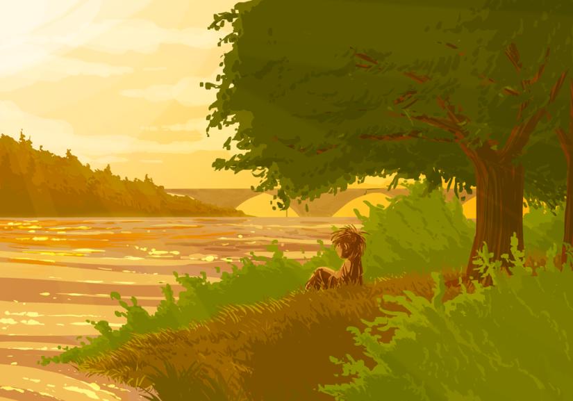 Le paysage et le gamin